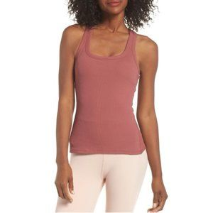 Alo Ribbed Support Tank Top Racerback Rosewood L